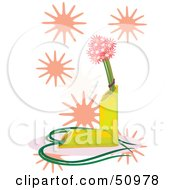 Royalty Free RF Clipart Illustration Of Flowers In A Bamboo Vase With Pink Bursts by Cherie Reve