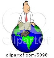 Businessman Sitting On Top Of The World Clipart