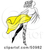 Royalty Free RF Clipart Illustration Of A Graceful Woman With Leg Tattoos Wearing A Yellow Skirt