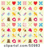 Background Pattern Of Hearts Ice Cream Teddy Bears And Other Items