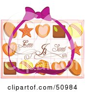 Purple Ribbon Over Valentines Day Chocolates