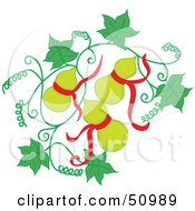 Royalty Free RF Clipart Illustration Of Green Oriental Fruit With Red Ribbons On A Vine