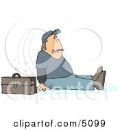 Man Slipping On Water Puddle And Falling To The Ground Clipart