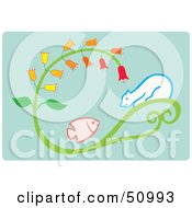 Royalty Free RF Clipart Illustration Of A Polar Bear On A Plant Watching A Fish by Cherie Reve