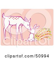 Royalty Free RF Clipart Illustration Of A Deer Sniffing A Rabbit by Cherie Reve