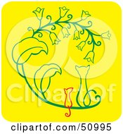 Royalty Free RF Clipart Illustration Of A Cat And Mouse Sitting Side By Side And Watching Flowers by Cherie Reve