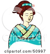 Royalty Free RF Clipart Illustration Of A Pretty Geisha Woman Version 8 by Cherie Reve