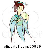 Royalty Free RF Clipart Illustration Of A Pretty Geisha Woman Version 5