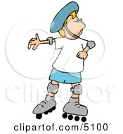 Boy Rollerblading With Protective Helmet Shoulder And Knee Pads Clipart by djart