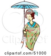 Royalty Free RF Clipart Illustration Of A Pretty Geisha Woman Version 7 by Cherie Reve