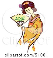 Royalty Free RF Clipart Illustration Of A Pretty Geisha Woman Version 2 by Cherie Reve