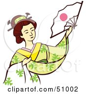 Royalty Free RF Clipart Illustration Of A Pretty Geisha Woman Version 3 by Cherie Reve