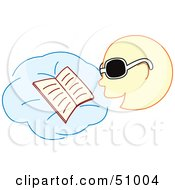Royalty Free RF Clipart Illustration Of A Boy Reading A Book And Wearing Sunglasses by Cherie Reve