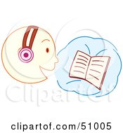 Royalty Free RF Clipart Illustration Of A Boy Reading A Book And Wearing Headphones by Cherie Reve