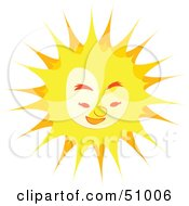 Royalty Free RF Clipart Illustration Of A Bright Yellow Sun Character Smiling Downwards by Cherie Reve