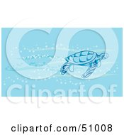 Royalty Free RF Clipart Illustration Of A Sea Turtle Swimming In The Current In Blue Waters