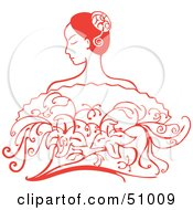 Royalty Free RF Clipart Illustration Of A Beautiful Red Hispanic Woman With Flowers by Cherie Reve