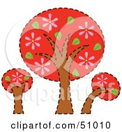 Royalty Free RF Clipart Illustration Of Three Red Trees With Pink Flowers by Cherie Reve