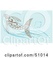 Royalty Free RF Clipart Illustration Of A Swimming Brown Whale In Blue Water by Cherie Reve