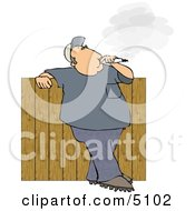 Man Smoking A Big Cigarette In His Backyard Against A Fence - Lifestyle Image