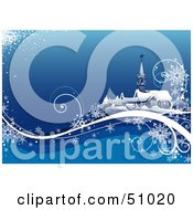 Royalty Free RF Clipart Illustration Of A Blue Church Christmas Background Version 1 by dero