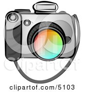 Digital SLR Camera With Flash Clipart