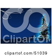 Royalty Free RF Clipart Illustration Of A Blue Christmas Tree Background Version 11