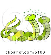 Male And Female Snakes Mating Clipart
