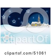 Royalty Free RF Clipart Illustration Of A Blue Church Christmas Background Version 2