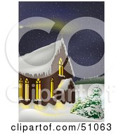 Clipart Illustration Of A Wintry Church Version 3