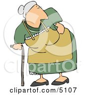 Old Lady With Back Pains Clipart by Dennis Cox