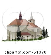 Royalty Free RF Clipart Illustration Of A Church Exterior Version 1