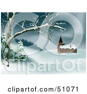 Clipart Illustration Of A Wintry Church Version 1