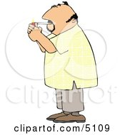 Man Lighting A Cigarette With A Lighter Clipart