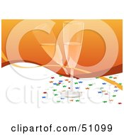 Royalty Free RF Clipart Illustration Of Two Toasting Champagne Glasses On Orange