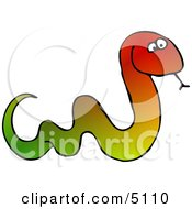 Colorful Snake Sticking Tongue Out Clipart