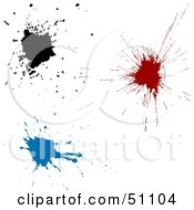 Royalty Free RF Clipart Illustration Of Three Ink Splats by dero