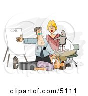 Doctor Teaching CPR To Medical Employees Clipart