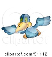Royalty Free RF Clipart Illustration Of A Happy Blue Bird Flying