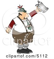 Man Celebrating Oktoberfest With A Traditional Beer Steins Clipart