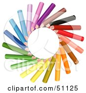Royalty Free RF Clipart Illustration Of A Sun Made Of Colored Pencils by dero