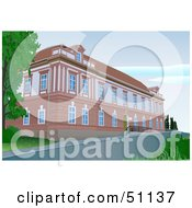 Royalty Free RF Clipart Illustration Of A Brick Building Or Manor by dero