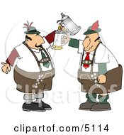 Two German Men With Beer Steins Celebrating Oktoberfest