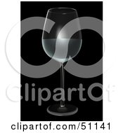 Royalty Free RF Clipart Illustration Of A Half Filled Wine Glass On Black by dero