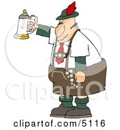 German Man Celebrating Oktoberfest With A Beer Stein Clipart