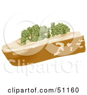 Royalty Free RF Clipart Illustration Of A Slice Of Bread With Cream Cheese And Parsley