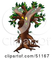 Royalty Free RF Clipart Illustration Of A Yellow Eyed Ent Tree Version 3 by dero