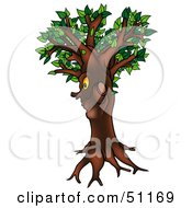 Royalty Free RF Clipart Illustration Of A Yellow Eyed Ent Tree Version 4 by dero