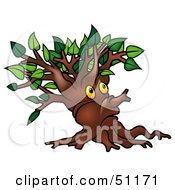 Royalty Free RF Clipart Illustration Of A Yellow Eyed Ent Tree Version 1 by dero