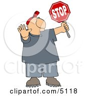 Cross Guard Man Stopping Traffic So Pedestrians Can Cross The Street Clipart by Dennis Cox